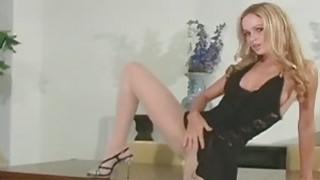 Super vixen widens legs in hose to expose slit