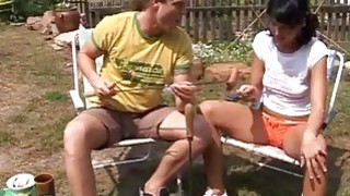 Anal banged at bbq party