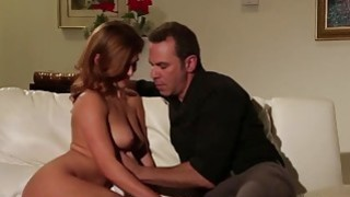 Slutty daughter enjoys dad for a few couch sex rounds