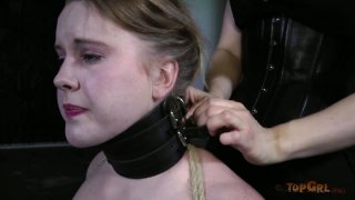 Pale skinned bitch Kylie Liddell performs in a hardcore BDSM video