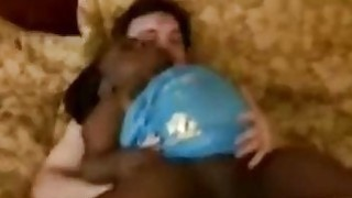 Filthy black midget goes crazy mounting a big white cock
