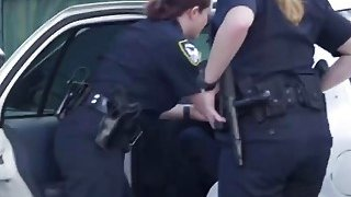White female cops with huge butts and tits are fucking in threesome with black men