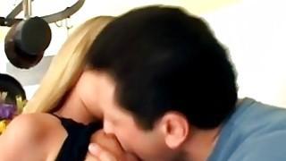 Blonde slut loves threesome double penetration