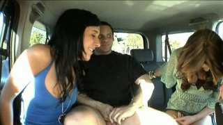 Desperate sluts Ashli Orion, Heather Hurley and Chelsie Rae suck a dick of a stranger in a truck