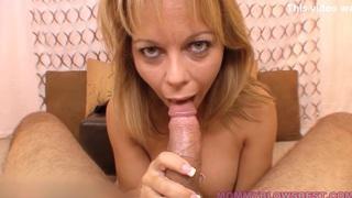 Horny Busty Mom Blows hard Cock
