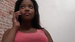 Curvy sista Monique Symone visits gloryhole and shows her talents
